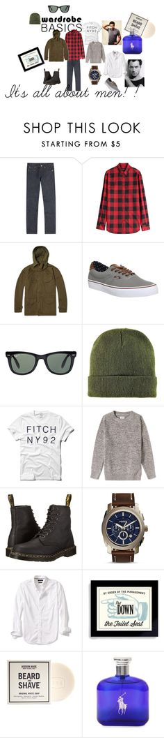 """""""It's all about men!"""" by marialibra ❤ liked on Polyvore featuring A.P.C., Dsquared2, Aspesi, Vans, Ray-Ban, BoohooMAN, Abercrombie & Fitch, Gant Rugger, Dr. Martens and FOSSIL"""