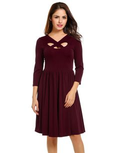 Women Cross V-Neck Cut Out 3/4 Sleeve Fit and Flare Party Pleated Casual Dresses