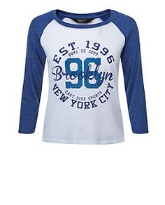 Teens Blue Brooklyn Print Raglan T-Shirt | New Look