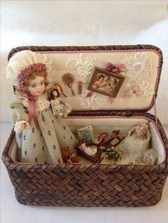 all porcelain doll in basket by Sandra Burgess Tiny Dolls, Old Dolls, Antique Dolls, Vintage Dolls, Dollhouse Dolls, Miniature Dolls, Porcelain Dolls For Sale, Home Decoracion, Doll Display