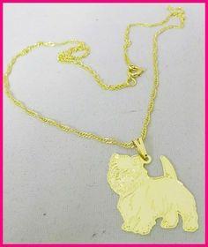 Semi joias femininas com pingentes de cães de raças, gatos e vários animais de estimação.  Colar folheado a ouro com Pingente Raça WESTIE TERRIER  Corrente singapura 45 cm