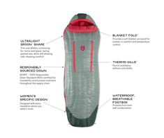 Riff™ Women's Down Sleeping Bag | NEMO Equipment Down Sleeping Bag, People Sleeping, Frozen In Time, Ultralight Backpacking, Adventure Gear, Popular Bags, Body Heat, Lining Fabric, Golf Bags