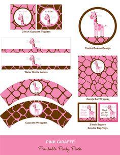 pink giraffe printable- etsy store