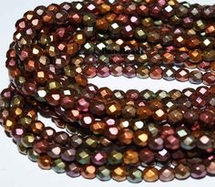 4mm round fire polished iris mix @ www.bonbeads.com