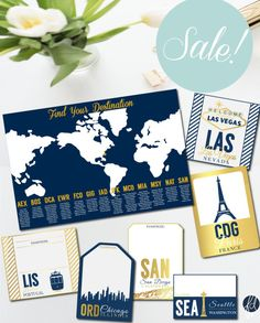 SALE  Travel Themed Table Numbers Escort by FerreirataleDesigns