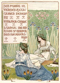 'A floral fantasy in an old English garden' set forth in verses & coloured designs by Walter Crane. Published 1899 by Harper & Brothers, London. Walter Crane, Art Nouveau, English Artists, Inspiration Art, Art Inspo, Children's Book Illustration, Book Illustrations, Arts And Crafts Movement, British Library