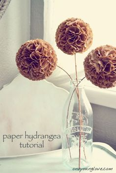 Hilary from One Young Love shares a tutorial to make these beautiful Paper Hydrangeas.