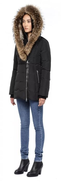 Mackage - AKIVA-F4 BLACK WINTER DOWN COAT FOR WOMEN WITH FUR HOOD