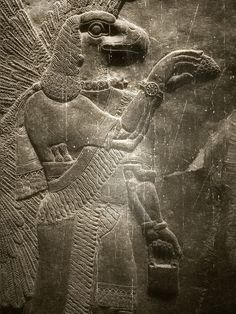 Sumer: Anunnaki are called great engineers Special features:Eagle head, Wings, Holding a pine cone. Watch on the hand. Holding the briefcase