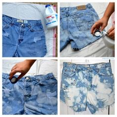 diy bleached jean shorts - a part of me is embarrassed that I'm pinning this because it's still weird to me that this is back in style...