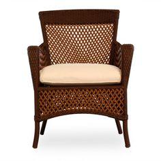 Lloyd Flanders Grand Traverse Patio Dining Chair with Cushion Fabric: Spectrum Sand, Finish: Caramel