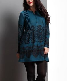 Look what I found on #zulily! Emerald Lace Notch-Neck Pin-Tuck Tunic - Plus by Reborn Collection #zulilyfinds