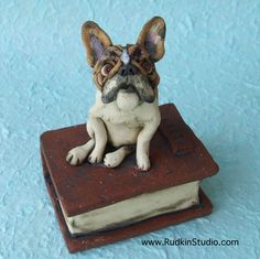 Removable French Bulldog on Book Ceramic Statue: Greta