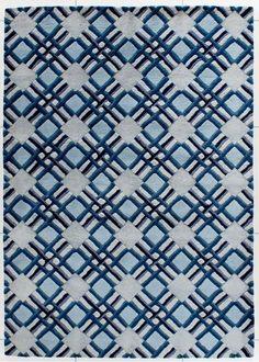 Dywan Carpetforyou Handtufted geometryczny niebieski wełna 1,40x2,00