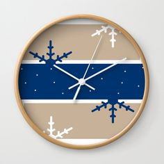 A hint of Christmas (Blue) Wall Clock by laec Blue Wall Clocks, Blue Walls, Creative, Artwork, Christmas, Home Decor, Xmas, Work Of Art, Decoration Home