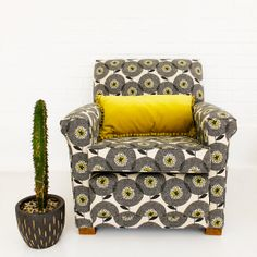 reupholstered chair with skinny laminx fabric