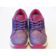 Girls Lace Up Trainers - Geox Asteroid Girl Purple Knit Effect Trainer