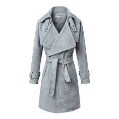 Belt Waist Notched Lapel Open Front Long Coat ($48) ❤ liked on Polyvore featuring outerwear, coats, open front coat, long coat and longline coat