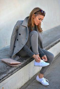 Gray coat, jeans, sweater, white sneakers. Street fall autumn women fashion @roressclothes closet ideas