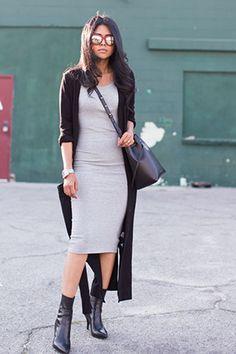 платье миди с пальто