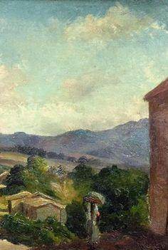 """Camille Pissarro (1830-1903) ~ """"Saint Thomas, Paysage de Montagne, Antilles (Toile inachevée)"""", c.1854-1855 (Détail) ~ Huile sur toile Originale 34.9 x 27.2 cm ~ Collection Privée"""