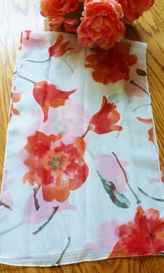 Vintage Scarf Red Flowers Sheer Designer Scarf by Designer Scarves, Vintage Scarf, Red Flowers, Trending Outfits, Unique Jewelry, Handmade Gifts, Etsy, Craft Gifts, Hand Made Gifts