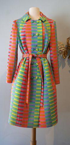 Vintage 1960s Rainbow Coat  60s Ladies Wool Coat  by xtabayvintage