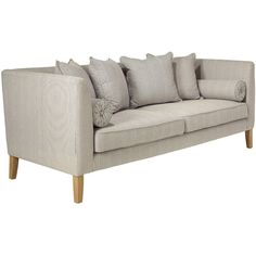 OKA Renzo 3-Seater Sofa (€2.260) ❤ liked on Polyvore featuring home, furniture, sofas, blue ticking stripe, rounded sofa, blue sofa, rounded couch, square couch and blue couch