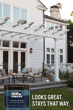 White Exterior Houses, House Paint Exterior, Exterior House Colors, Exterior Design, Home Exterior Makeover, Exterior Remodel, Outdoor Rooms, Outdoor Living, Backyard Patio Designs