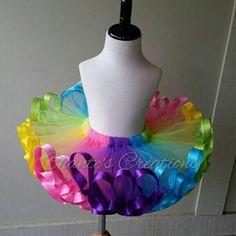 Arco iris de verano cinta cortada tutu por ChantesCreations en Etsy