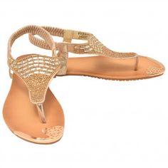 Lucita Adult Gold Stone Encrusted Elastic Strap Flip Flop Sandals 5.5-10 Women