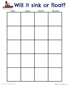 Here's an easy printable for kids to use to track predictions and results about whether items will sink or float