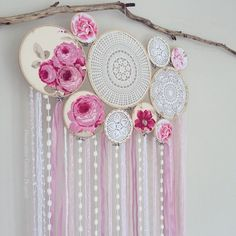 Happiness can be found when you stop comparing yourself to others and simply love who you are. Special Order Flower Crochet Wall Mural for Maria. Available in pink and blue, message us or visit our website for ordering information, SHOP www.dreamcatcher-... ✨