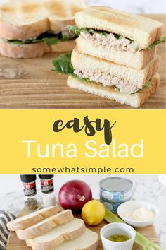 Of all the tuna salad recipes I've tried over the years, this version is my favorite! Classic ingredients served on toast or a fresh bed of lettuce – this delicious recipe is simple to make and tasty too! Easy Tuna Salad, Easy Salads, Lunch Recipes, Salad Recipes, Dinner Recipes, Cheese Pita Recipe, Non Sandwich Lunches, Incredible Recipes, Amazing