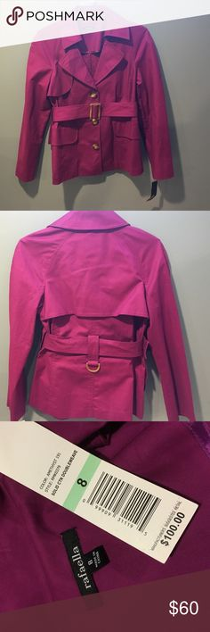 Jacket Amethyst deep pink double-weave belted jacket with  tortoise shell buttons and belt loop which adds a classic look. Rafaella Jackets & Coats