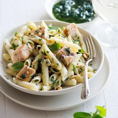 Penne with Swordfish, Mint, and Pine Nuts   In this Sicilian dish, pasta, pine nuts, and chunks of swordfish are tossed in mint-spiked olive oil, with more fresh mint thrown in at the end. The combination is irresistible.