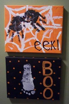 Foot and handprint halloween canvases