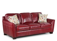 From its ergonomic design and tailored finishes, the Sanremo leather sofa is designed with both comfort and style in mind. Sit and unwind in top-grain semi-aniline leather and bonded leather match on the sides and back. Or, stand back and revel at its hand-rubbed finish that gives the piece an heirloom feel. The contrast stitching and coordinating pillows add another touch of style that will look great in any home.