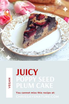 There is something special about this combination. Sweet and juicy plums compliment very nice creamy and pungent poppy seeds. This poppyseed cake with plums is amazing. Flullfy butter with creamy poppy seeds and juicy plums are everything! plumcake #plumcake #glutenfreecake #springcake #poppyseedcake