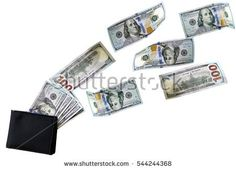 Wallet with money isolated image (money fly away)