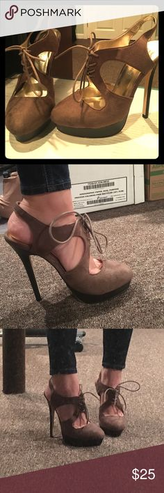 "Brown lace up heels Gorgeous & unique lace up shoe. Never worn!! Size 8 but runs small (I usually wear 7.5 & they fit me perfectly) 5"" heel & 1"" platform JustFab Shoes Heels"