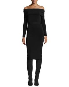 Lara Off-the-Shoulder Fitted Midi Dress by Alice   Olivia at Neiman Marcus.