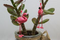 Boucles d'oreilles flamants rose articulés -  Bijoux pour l'été - pink flamingo - tropical - bijou exotique tendance