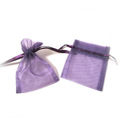 """Purple Organza Bags (Set of 10)   Nuptial Knick Knacks    Available is five popular sizes, our bags are made of high quality organza sheer, with a satin drawstrings. Our organza bags have a wide range of use for your bridal needs. They work great for bridesmaids' and guest gift packaging as well as candies and almonds. Choose from 5 different sizes:  3"""" x 4"""", 4"""" x 6"""", 5"""" x 7"""", 6"""" x 10"""" and 6.5"""" x 15""""(Perfect for wine and liquer bottles)"""