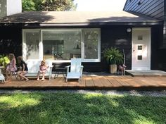 """""""We are loving our new deck/walkway! Totally changes the feel and flow of our house. Just a few more boards to go by the door and we're done. Also, pink front door are really fun."""" --Kait @pinklinendesigns.com, via instagram"""