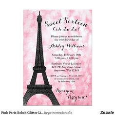 Pink Paris Bokeh Glitter Lights Sweet 16 Card Modern Paris themed Sweet 16 birthday party invitations. Glamorous pink glitter lights background with an Eiffel tower. GRAPHICS by JW Illustrations © JESSICAWEIBLE.COM