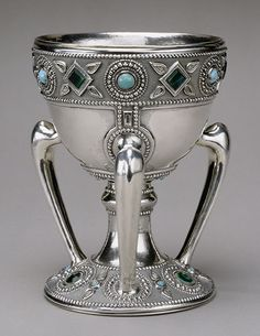 """Three-handled Cup,called a Tyg"". c1905. Sterling Silver and Glass....Louis Comfort Tiffany, Tiffany Studios. In the Metropolitan Museum of Art, New York."