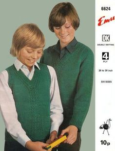 Boys Pullover and Vest Sweaters Vintage Knitting Pattern for download - Six Sizes 7 to Teen To fit Chest 26 to 36 inches