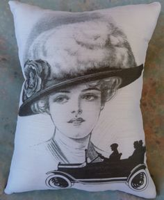 Pillow of 1920's  Lady with Car 10 x 8 by Maisonvogue on Etsy, $15.00