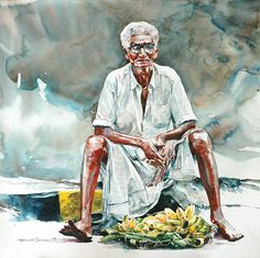 """Indian Watercolor Artist- """"Rajkumar Sthabathy"""" 1975 - Fine Art and You - Painting Watercolor Paintings Nature, Watercolor Paintings For Beginners, Indian Art Paintings, Realistic Paintings, Watercolor Artists, Watercolor Portraits, Indian Artwork, Human Figure Sketches, Figure Sketching"""